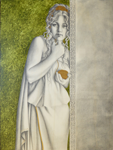 Ariadne. Graphite drawing, enamel and oil painting on wood
