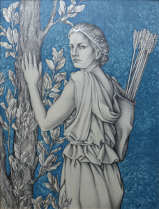 Diana. Graphite drawing, oil paint and silver leaf on wood